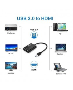Terabyte  USB to HDMI Adapter, USB 3.0 to HDMI Adapter 1080P, RayCue Video Audio Multi Monitor Adaptor Converter