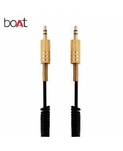 Boat Twister 3.5mm Male to Male Coil Aux Audio Cable with Gold Plated Connectors, 3m (9.9 Feet, Black)