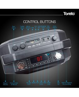 Toreto TOR-314 60W Portable Wireless Party Speaker with Mic for Singing & Recording