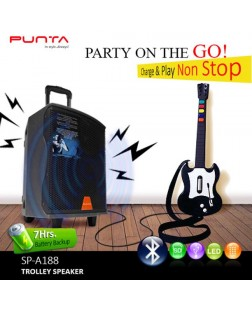 Punta SP-A188 Trolley Bluetooth Speaker (Guitar Input, Remote Control, Wireless Microphone) THE PARTY HOPPERS