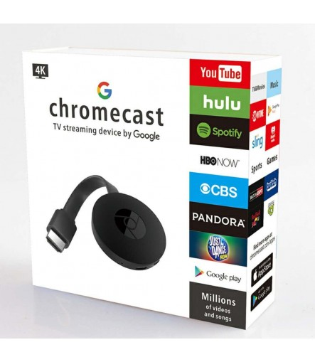 Chromecast 2 Media Streaming Device WiFi Wireless Display Receiver (Black)