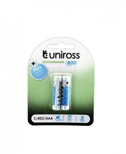 Uniross Rechargeable Batteries 800 Series 2 x HR03 AAA batteries