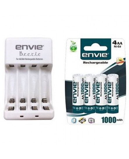 Envie ECR-20 +4x AA Camera Battery Charger + 4 AA 1000mah Rechargeable Batteries