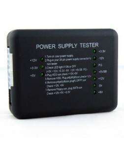 Voltage tester for PC-power supply, prevents computer from damage with ATX connector