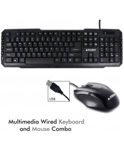 ProDot SRC-107-253 Wired USB Multimedia Keyboard and Mouse Combo with 114 Keys for laptops, desktop, PC, Home/office use with 1 year warranty by Prodot
