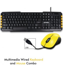 ProDot TRC-107+213 USB Mash Yellow USB Wired Multimedia Keyboard With Mouse Combo, 114 Keys for laptops, desktop, PC, Home/office use with 1 year warranty by Prodot