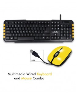ProDot TRC-107+273 USB Mash Yellow USB Wired Multimedia Keyboard With Mouse Combo, 114 Keys for laptops, desktop, PC, Home/office use with 1 year warranty by Prodot