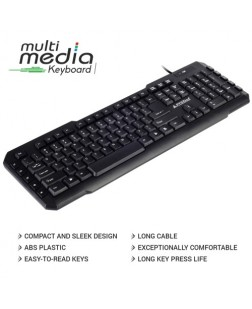 ProDot KB-107M Wired PS2 Keyboard with 114 Keys (6 Multimedia keys) and rupee font for laptops, desktop, PC, Home/office/court documentation use with 1 year warranty by Prodot