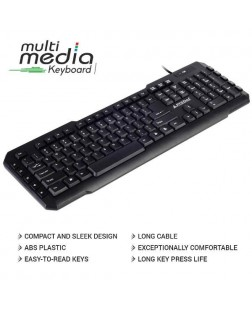 ProDot KB-107M Wired USB Keyboard with 114 Keys (6 Multimedia keys) and rupee font for laptops, desktop, PC, Home/office/court documentation use with 1 year warranty by Prodot