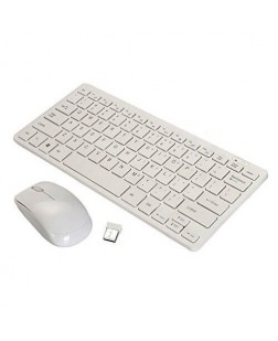 TechnoTech Mini 2.4G Wireless Multimedia Keyboard & mouse Combo Kit (White)