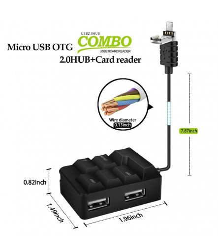 USB OTG Hub Combo Adapter Micro USB to USB, OTG Cable SD(HC)/TF Card Reader with 2 USB Hubs for PC, Android Phones