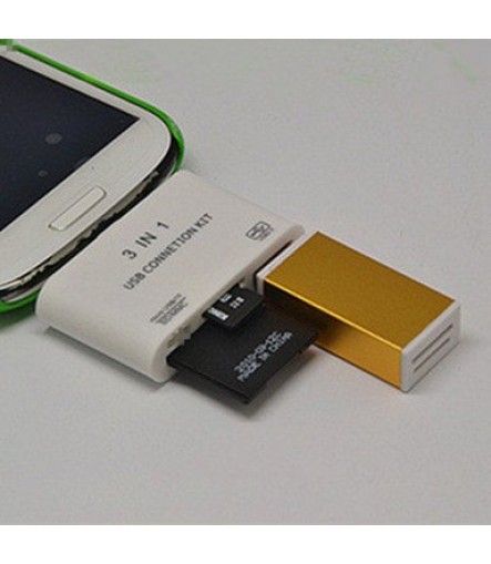3in1 Micro USB On-The-Go Connection Kit HUB SD TF Card Reader Adapter For OTG Mobile Phone