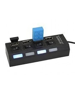 USB HUb 4-Port USB 3.0/2.0 Hub with Independent power Switches Black/White