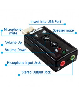 USB to Sound 7.1 Channel With Volume Controller (External USB Sound/Audio Card for Laptop, Desktop, PC)