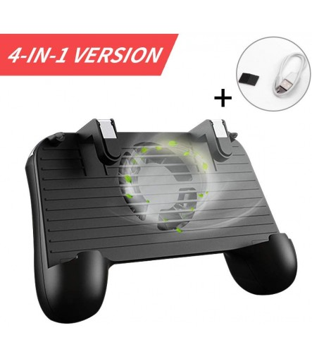 PUBG 4-in-1 Upgrade Version Gamepad Shoot and Aim Trigger Phone Cooling Pad Power Bank for Android & IOS Fortnite Mobile Game Controller