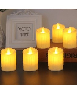 Flameless LED Candles with Dancing Flame Battery Operated Candles melted design pillar candle for Diwali Gift /Home Decor/ Wedding/ birthday/ festivals / anniversary / all purpose /gift /diwali candle (Red / White, Pack of 6)