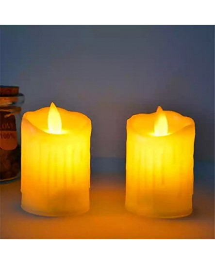 Home Decoration Swing Flameless LED Electronic Candles for Diwali (Red / White, Pack of 4)