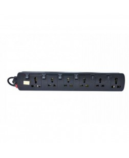 ProDot Spike Buster 6 Sockets Multi Button 2.5m-Black (PRD-SPIKE-MB)