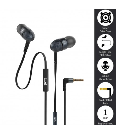 boAt Bass Heads 225 in-Ear Super Extra Bass Earphones with One Button Mic (Black)