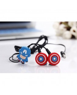 Captain America Cartoon Music Earphones, Great for Kids, Boys, Girls, Adults, Gifts Birthday/Anniversary Stereo Dynamic Wired Headphones