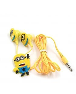 Cartoon Minions In-Ear Wired Earphone With 3 Additional Earplug Covers
