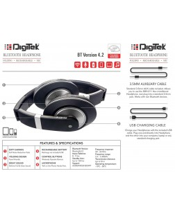 Digitek DBH 011 Bluetooth Headphone (Black)
