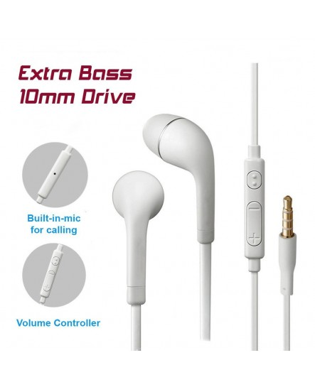 Oppo R11 Compatiable In-Ear Earphone with Mic and volume and call controller Heavy Bass Noise Cancelling Orignal Earphones / Headphone by Nabster -3.5mm White