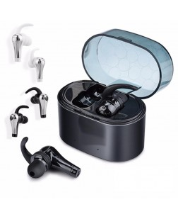 QY1 TWS 5.0 Dual Bluetooth Earphone Stereo English Prompt Headphone with Charging Box - Silver