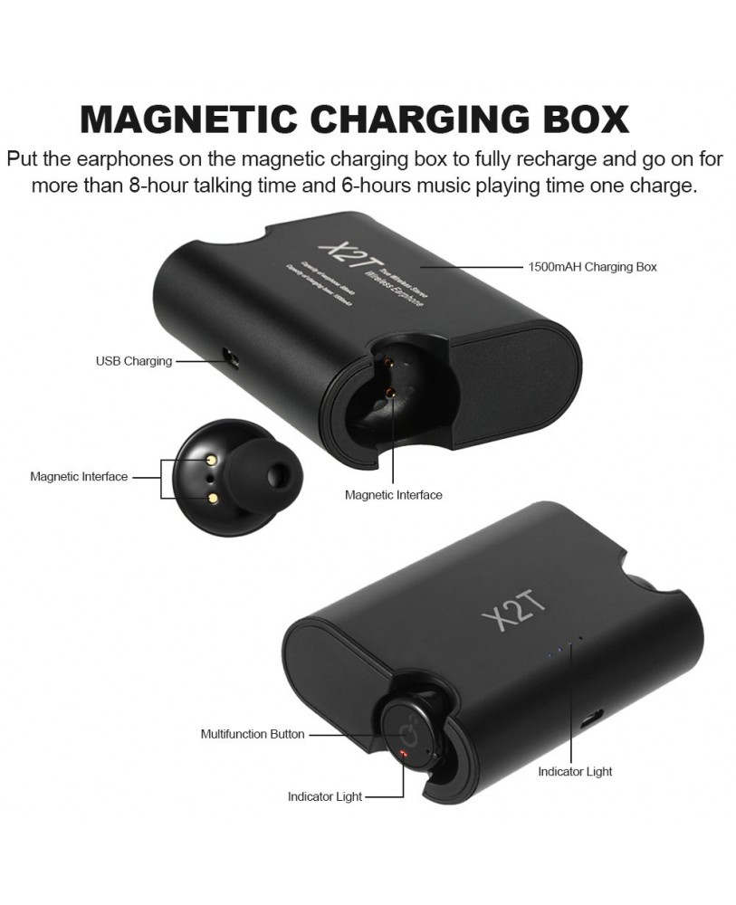 fda81ded62f X2T Twin Wireless Bluetooth CSR4.2 Earphone Stereo with Magnetic Charger  1500mah Charging Box Case