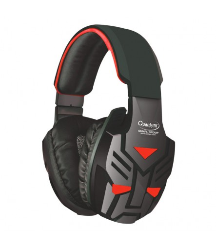Quantum QHMPL QHM 855 Headset Mic Stereo Vibration Bass Gaming Movie Music (Black Red, Over the Ear)