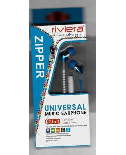 Riviera Universal Zipper-2In1 Music Earphones