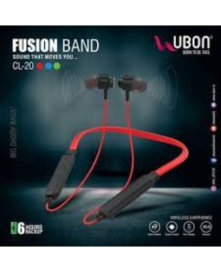 UBON CL-20FB Fusion Wireless Neckband Earphone in-Ear Earbuds Bluetooth Headphone with Mic Hi-fi Bass Stereo Sound for Sports, Gym & Travelling (RED)