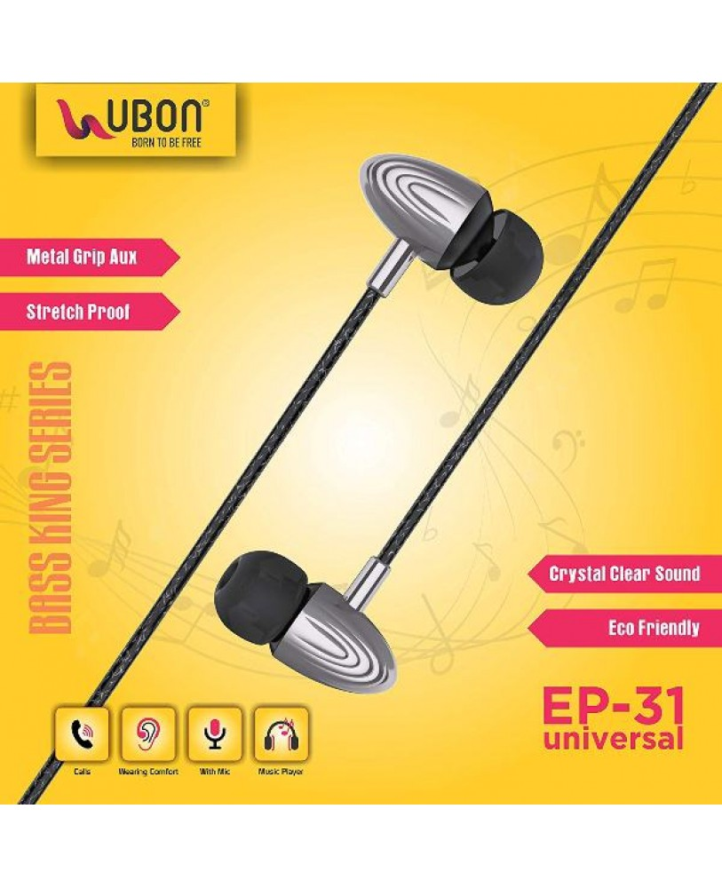 9277748f87623b UBON EP-31 Universal in-Ear Headphones with Mic - Color Light Black
