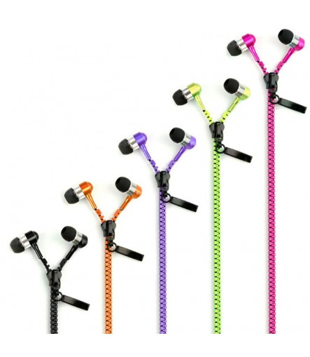 Zipper Earphones In-Ear High Bass Earphones With Mic (Color may Vary)