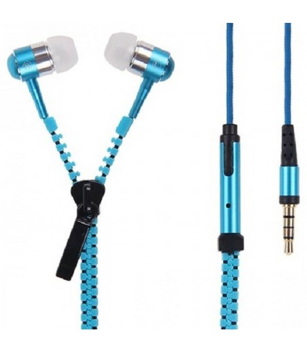 Zipper Earphones ear bud in-ear high bass with mic, earphones with zip, zip earphones (Multi)