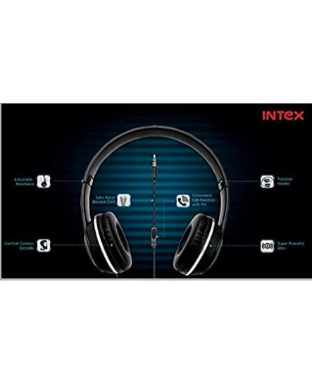 Intex Roar 101 Over The Ear Wired Foldable Headphone with 3.5mm Jack (Black)