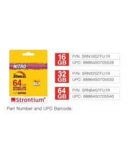 Strontium Nitro 64GB Micro SDXC Memory Card 65MB/s UHS-I U1 Class 10 High Speed for Smartphones Tablets Drones Action Cams