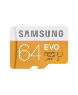 Samsung EVO Class 10 64GB MicroSDHC 48 MB/S Memory Card with SD Adapter (MB-MP64DA)