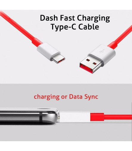 OnePlus 6 Dash Type C Cable For 5/5T/3/3T, Dash Charge USB C Cable Dash Cable (5V/4A) Red