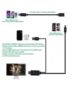 Mhl to Hdmi Media Adapter Kit 6.5 Feet (2M) 1080P HDTV Adapter