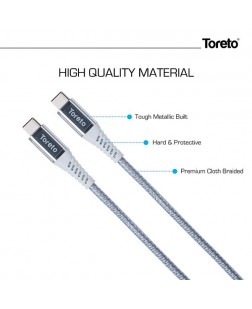 Toreto TOR-824 Type C to Type C Data Cable for Mac Book, Type C Devices
