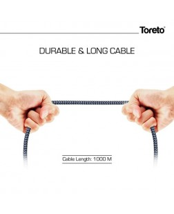 Toreto TOR-827 2.4 Amp Cloth Braided Type C USB Cable for Type C Devices