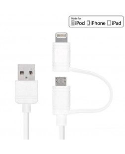 UBON 2 in 1 Data Sync & Charge Lightning cable with micro usb support (White)