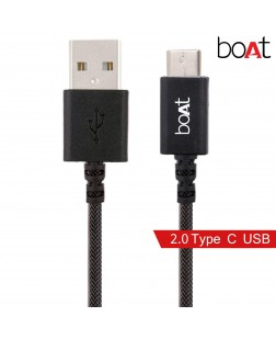 boAt A400 USB Type-C to USB-A 2.0 Male Data Cable, 2 Meter (Black)
