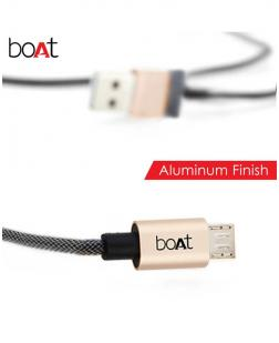 boAt Micro USB 510 Indestructible Nylon Braided Micro USB to USB Tangle Free Cable, 1.5 Meter (5 Feet) - Black