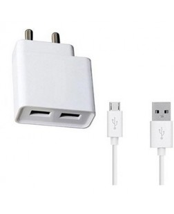 Samsung 2.1 amp Dual USB Charger For Samsung Wall Charger With 1 Meter Micro USB Cable Charging Cable Data Cable (White)