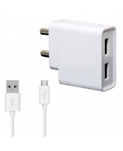 Vivo 2A Dual Port Mobile Charger for all Vivo Smartphones With 1 Meter Micro USB Cable Charging Cable Data Cable (White)