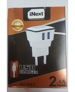 iNext Charger INT-54FC 2.5 Amp 100% Fast Charger With Dual USB Charging Ports & Charging cable