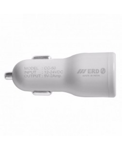 ERD CC-50 USB 2.0 Single Port Car Mobile Charger (White)