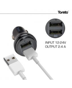 Toreto TOR-401 Dual Port 2.4A Rapid Car Charger with Safety Charging